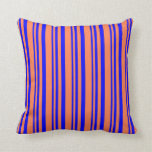 [ Thumbnail: Blue & Coral Lined Pattern Throw Pillow ]
