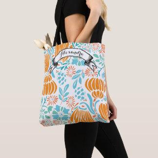 Blue, Coral & Mint Modern Floral Tote Bag