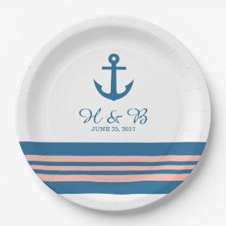 Blue Coral Nautical Anchor Wedding Paper Plates