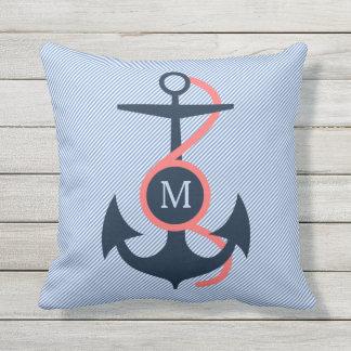 Blue & Coral Nautical Boat Anchor Throw Pillow
