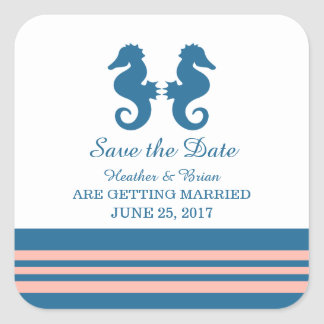 Blue Coral Nautical Seahorse Save the Date Square Sticker