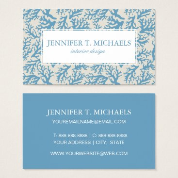 Beach Themed Blue Coral Pattern Business Card