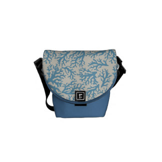 Blue Coral Pattern Courier Bag