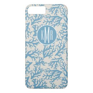Blue Coral Pattern | Monogram iPhone 7 Plus Case