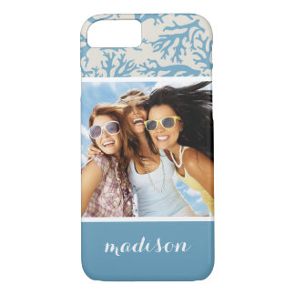 Blue Coral Pattern | Your Photo & Name iPhone 7 Case