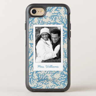 Blue Coral Pattern | Your Photo & Name OtterBox Symmetry iPhone 7 Case