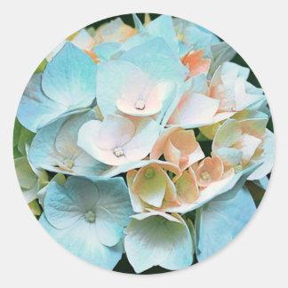 Blue Coral Peach Hydrangea Floral Stickers Seals
