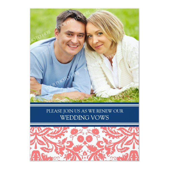 Blue Coral Photo Wedding Vow Renewal Invitation