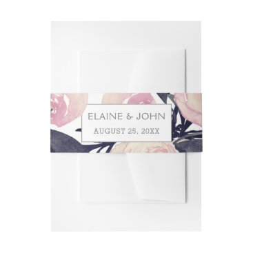 Blue & Coral Pink Floral invitation belly band