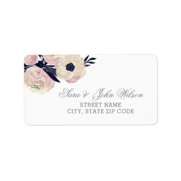 Blue & Coral Pink Floral Spring address labels