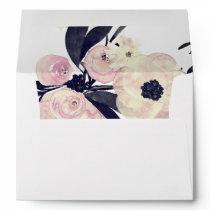 Blue & Coral Pink Floral Spring Wedding Envelope