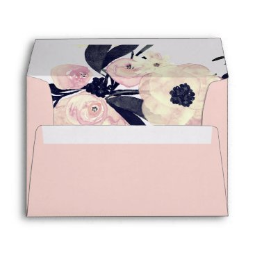 Blue & Coral Pink Floral Spring Wedding Envelope