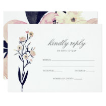 Blue & Coral Pink Floral Spring Wedding rsvp Card