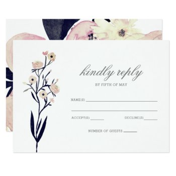 Blue & Coral Pink Floral Spring Wedding Rsvp Card by blessedwedding at Zazzle