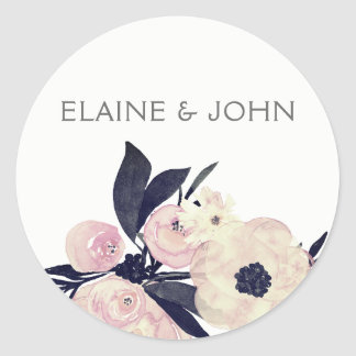 Blue & Coral Pink Floral Spring Wedding stickers