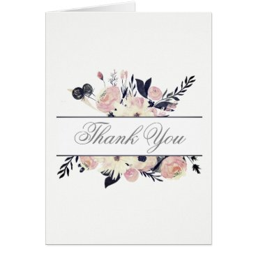 Blue Coral Pink Floral Spring Wedding thank you Card