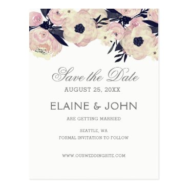 Blue & Coral Pink Floral wedding save the dates Postcard