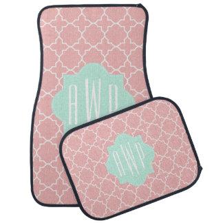 Blue + Coral Quatrefoil Monogram Floor Mat