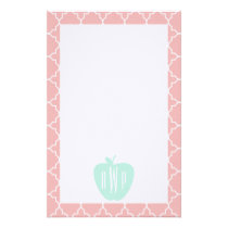 Blue   Coral Quatrefoil Monogram Teacher Stationery