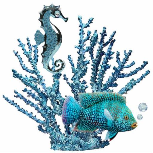 Blue Coral Reef Key Chain Photo Cutout
