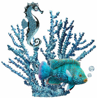 Blue Coral Reef Pin Photo Sculpture Button