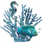 "Blue Coral Reef Sculpture<br><div class=""desc"">Photo sculpture of blue coral sheltering a gleaming blue seahorse and a beautiful blue fish with light blue topaz air bubbles. This is a great Under the Sea party decor piece that can be used anywhere, even in a centerpiece. See the entire Under the Sea Photo Sculpture collection in the...</div>"