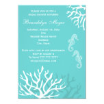 "Blue Coral Reef Seahorse Bridal Shower Invitations 4.5"" X 6.25"" Invitation Card"