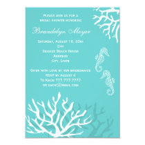 Blue Coral Reef Seahorse Bridal Shower Invitations