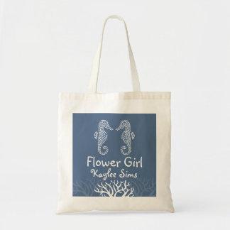 Blue Coral Reef Seahorse Flower Girl Tote Tote Bags