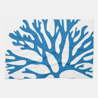 blue coral silhouette kitchen towel