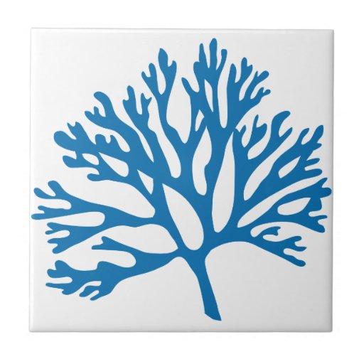 Blue Coral Silhouette Tile Zazzle