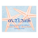 Blue Coral Starfish Save the Date postcards