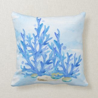 Blue Coral Underwater Still Life Throw Pillow
