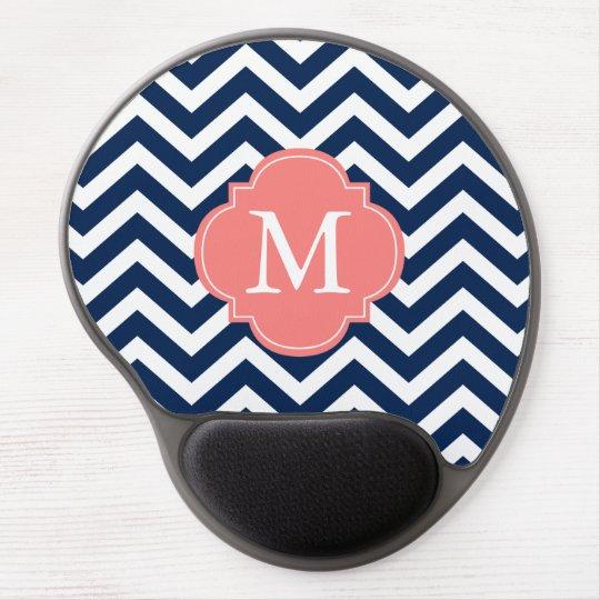 Blue & Coral Zigzags Pattern Monogram Gel Mouse Pad