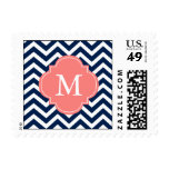 Blue & Coral Zigzags Pattern Monogram Stamp