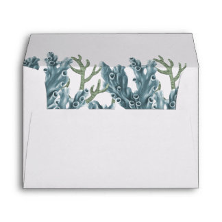 Blue Corals Under The Sea Wedding Envelope