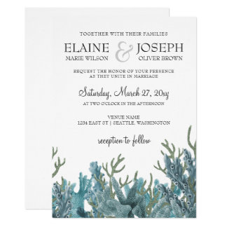 Blue Corals Under The Sea Wedding Invitation