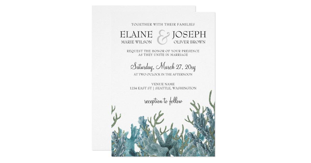 Best Wedding Gifts Under 100: Blue Corals Under The Sea Wedding Invitation