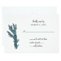 Blue Corals Under The Sea Wedding Invitation rsvp