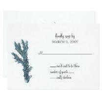 Blue Corals Under The Sea Wedding Invitation rsvp