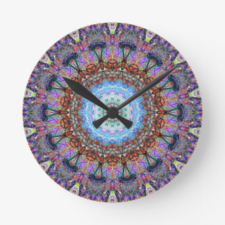 Blue Corn Flower Exploding In A Kaleidoscope Round Clock