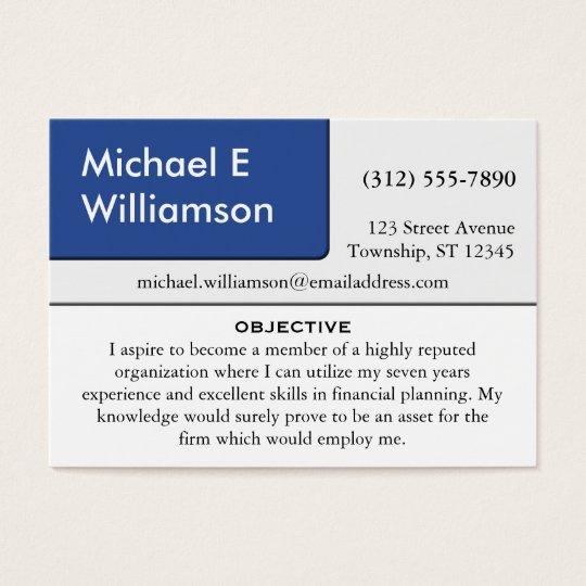 Blue Corner RESUME Business Cards