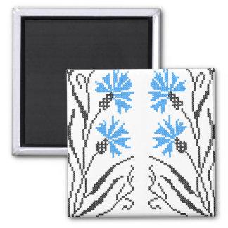 Blue Cornflower cross-stitch design 2 Inch Square Magnet