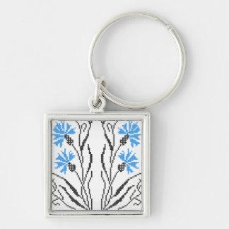 Blue Cornflower cross-stitch design Keychain