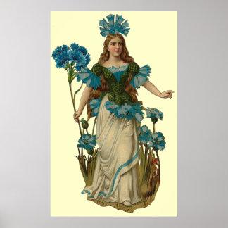 Blue Cornflower Fairy Print