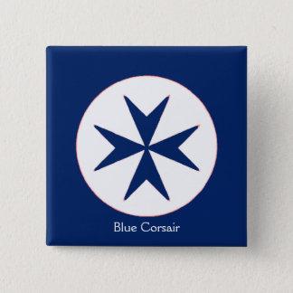 BLUE CORSAIR STYLE octagon cross Pinback Button