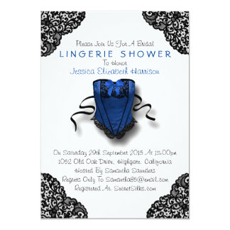 Blue Corset & Black Lace Lingerie Shower Card