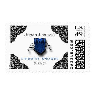 Blue Corset & Black Lace Lingerie Shower Postage Stamp