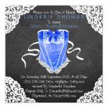 Blue Corset White Lace Chalkboard Lingerie Shower Invitation
