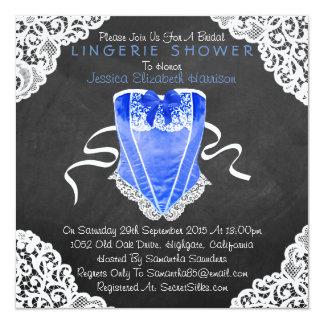 "Blue Corset White Lace Chalkboard Lingerie Shower 5.25"" Square Invitation Card"